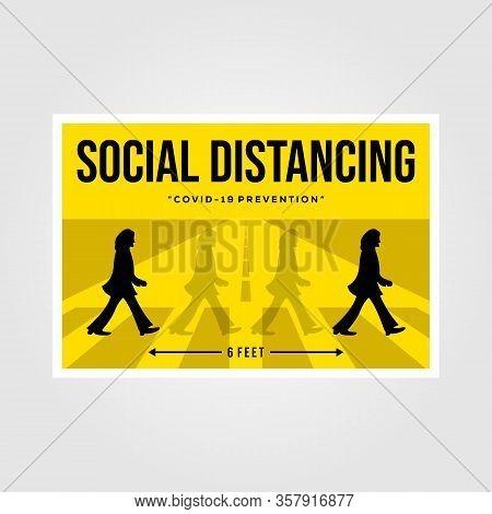 Banten, Indonesia, 27 March 2019: Minimalist Social Distancing Flat Vector Poster Illustration Desig