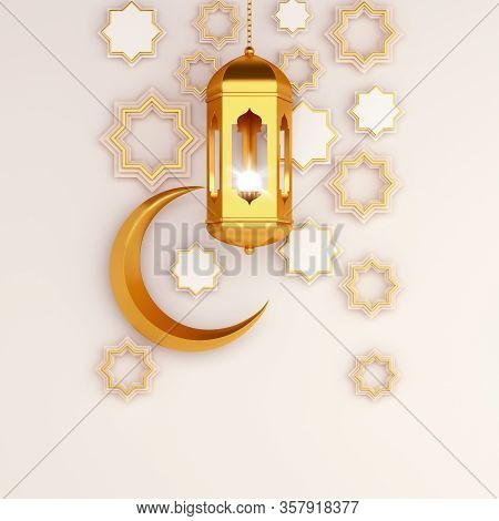 Islamic Background, Ramadan Background, Lantern, Crescent, Window On White Beige Background. Ramadan
