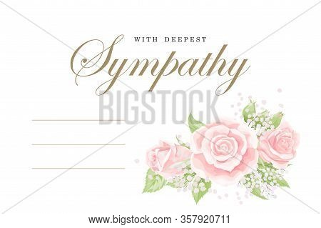 Condolences Sympathy Card Floral Cream Pink Rose Bouquet And Lettering