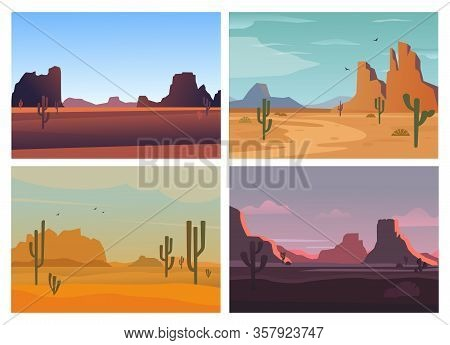 Wild Desert. Arizona High Stone Rocks Cactuses Sandy Landscape Horizon Mountains Sunsets. Vector Car