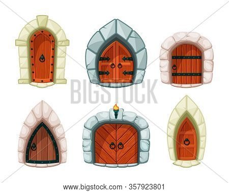 Medieval Doors. Wooden And Rocks Entrance Gate And Doors For Castle Fortress Cartoon Exit Vector Sym