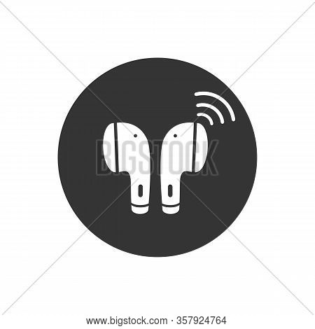 Earphone Bluetooth Icon Design. Earphone Icon In Modern Flat Style Design. Vector Illustration