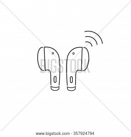 Earphone Bluetooth Line Icon Design. Earphone Icon In Modern Flat Style Design. Vector