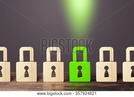 A Green Padlock Stands Out From Others. Safety Of Personal Data, Privacy Of Users. Nsfw. Virus, Anti