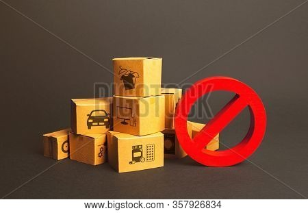 Cardboard Boxes And Red Prohibition Symbol No. Import Restriction, Ban Export Goods. Lack Of Goods,