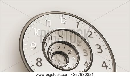 3d Rendering Classic Vintage Round Clock Spinning Forward Or Backward Infinity Time. Old Round Clock