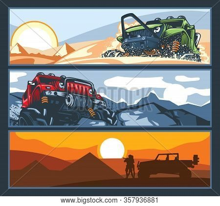Three Banners With Off-road Vehicles With Difficult Roads