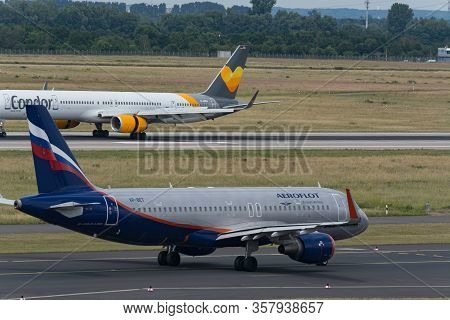 Dusseldorf, Nrw, Germany - June 18, 2019: Dusseldorf, Nrw, Germany - June 18, 2019:  Aeroflot Airpla