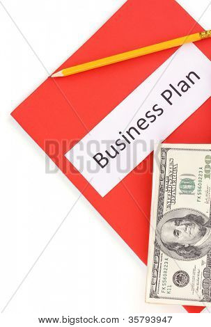 Red folder labeled business