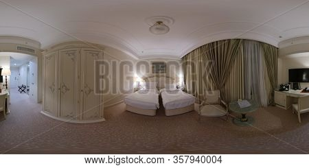 Moscow, Russia - March 6, 2020: 360 vr panorama of luxury bedroom in Radisson Collection Ukaraine hotel