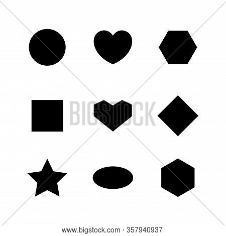 Simple Geometry Shape With Circle, Heart, Oval, Ellipse, Star, Square And Diamond Trapezoid Shape Is