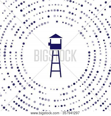 Blue Watch Tower Icon Isolated On White Background. Prison Tower, Checkpoint, Protection Territory,