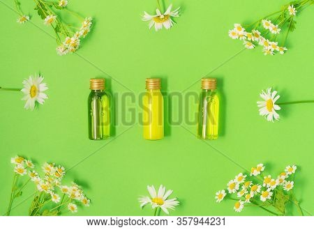 Flat Lay Of Small Mockup Bottles With Spa Cosmetic Products On Green Background With Fresh Camomile