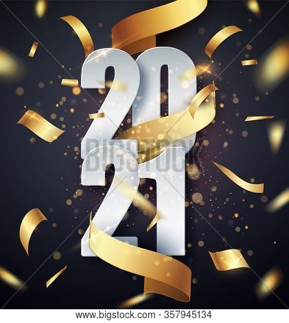 2021 Happy New Year Vector Background With Golden Gift Ribbon, Confetti, White Numbers. Christmas Ce