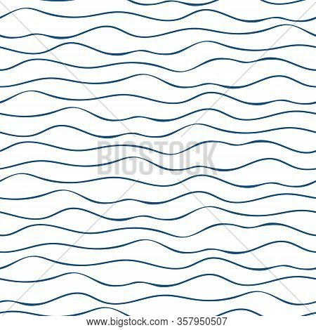 Vector Abstract Hand Drawn Navy Blue Doodle Ocean Waves. Seamless Geometric Pattern On White Backgro