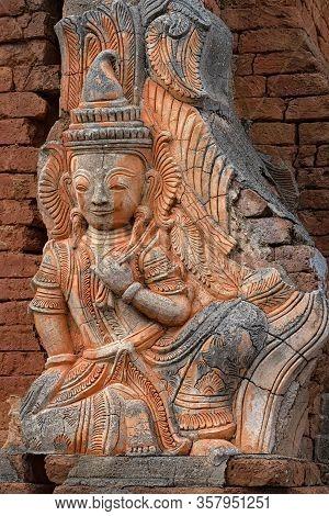 Deva Statue In Shwe Indein Pagoda, Myanmar. The Shwe Indein Pagoda Is A Group Of Buddhist Pagodas In