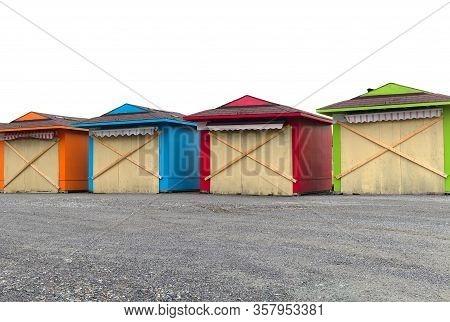 Beach Huts Multicolor Market Kiosk Craft Vacation Souvenir Boutique
