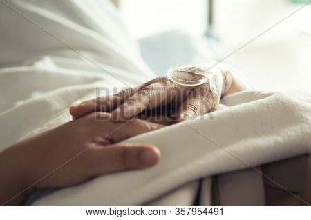 Patients Saline, Iv Drip, Young Woman Hand With Medical Drip Intravenous Needle, Give Salt Water On