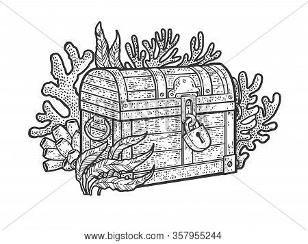 Treasure Chest On The Bottom Of The Ocean Sketch Engraving Vector Illustration. T-shirt Apparel Prin