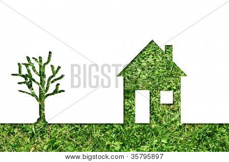 Concept or conceptual house symbol or metaphor with a green tree at horizon made of fresh summer or spring grass isolated on white background for nature,environment, ecology,real estate or residential