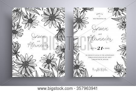 Engraving Invitation With Frame Of Leaves And Flowers. Botanical Template With Space For Your Text.