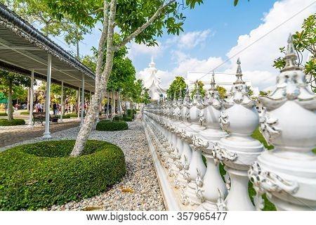 Chiang Rai, Thailand - 6.11.2019: The Ornamental Railing Near Wat Rong Khun Temple (white Temple). F