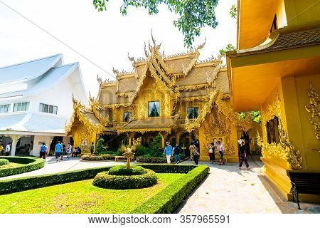 Chiang Rai, Thailand - 6.11.2019: The Golden Temple Building Near Wat Rong Khun Temple. Used As Toil