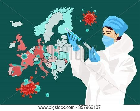 Victory Over Coronavirus In Europe Concept. Coronavirus Vaccine In Action. Map Of Europe With Decrea
