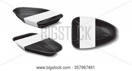 Styrofoam Food Storage. Food Plastic Black Tray With White Label, Dark Foam Meal Container, Empty Bo