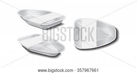 Styrofoam Food Storage. Food Plastic White Tray With White Label, Foam Meal Container, Empty Box Set