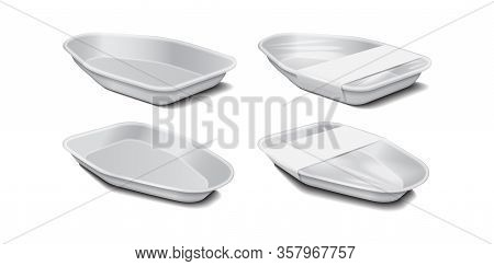 Styrofoam Food Storage. Food Plastic White Tray, Foam Meal Container, Empty Box Set For Food