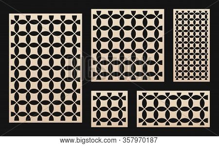 Laser Cut Pattern Collection. Vector Stencil With Abstract Geometric Pattern, Grid Ornament In Orien