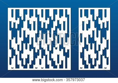 Laser Cut Pattern. Vector Template With Abstract Geometric Texture, Liquid Lines And Stripes Ornamen