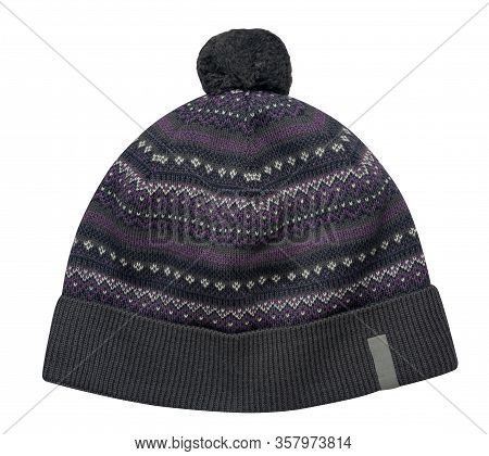 Knitted Gray, Purple , Black Hat Isolated On White Background.hat With Pompon .