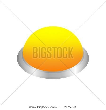 Button Circle Shape Yellow For Buttons Games Play Isolated On White, Yellow Modern Buttons Simple An