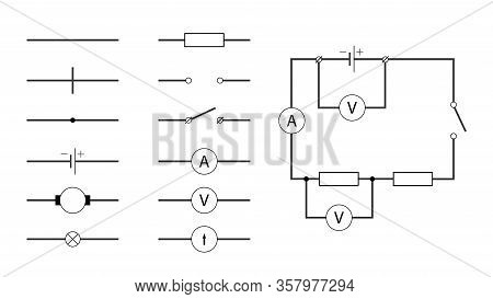 Visual Vector Illustration Shows The Symbols Used In Electrical Circuits