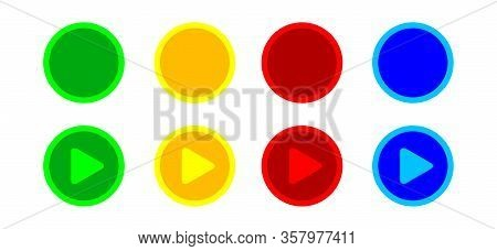 Button Circle Flat Simple Shape For Buttons Games Play Isolated On White, Colorful Modern Buttons Si