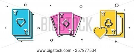 Set Playing Card With Heart, Playing Card With Diamonds And Playing Card With Clubs Symbol Icon. Vec