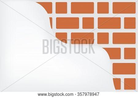 Bricks And Plaster Walls, Construction Wall Bricks For Background, Illustrations Red Brown Bricks Wa