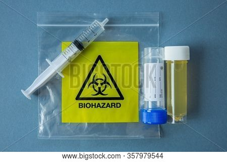 A Flat Lay Of Laboratory Equipment From A Biohazard Chemical Lab With Copy Space