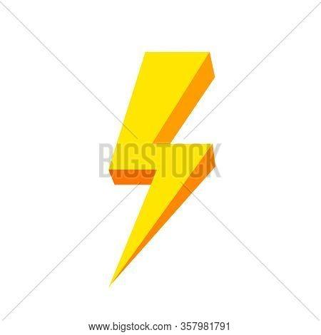 Yellow Thunder Icon Isolated On White Background, Thunder Storm Symbol Yellow Flat Lay, Clip Art Thu