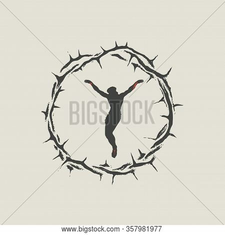 Vector Banner With A Crucifix Inside A Crown Of Thorns. Religious Illustration On The Theme Of Easte