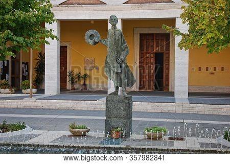 Argenta, Ferrara, Emilia Romagna / Italy - September 10 2018: Statue Of Don Giovanni Minzoni, Killed