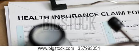 Filling Out Document Health Insurance Claim Form. Request For Reimbursement Or Direct Payment Medica