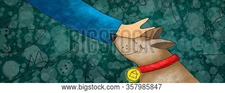 Banner Design For Dog Shelters And Shelters For Abandoned Animals Etc. The Hand Stroking A Cute Dog.