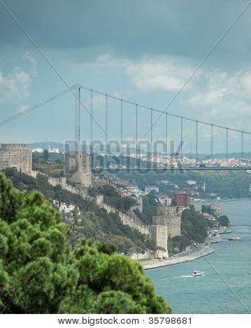 Bosphorus bridge and Rumeli Castle in Istanbul Turkey