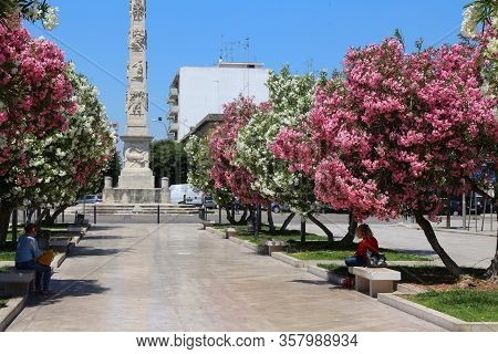 Lecce, Italy - June 1, 2017: People Visit The Baroque City Of Lecce, Italy. With 50.7 Million Annual