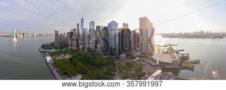New York City Nyc Manhattan Downtown Skyline Panorama, New York City Nyc, New York Ny, Usa.
