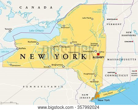 New York State (nys), Political Map, With Capital Albany, Borders, Important Cities, Rivers And Lake