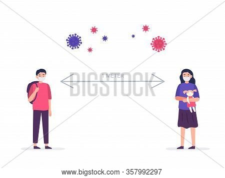 Social Distancing, Keep Distance In Public Society People To Protect From Covid-19 Coronavirus. Kids